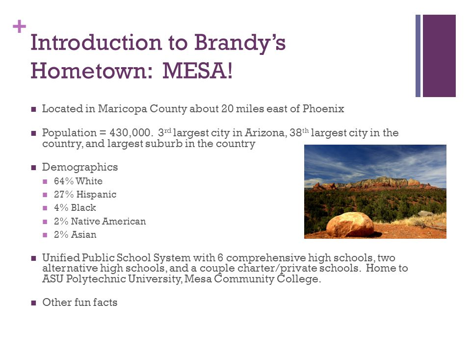 + Introduction to Brandy's Hometown: MESA.