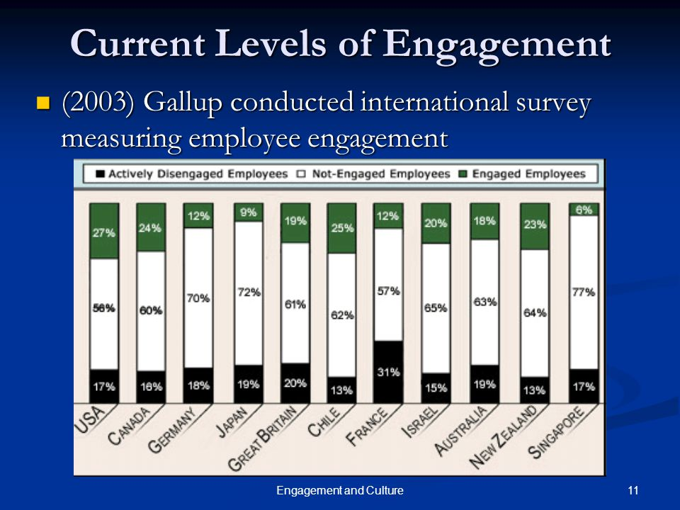 11Engagement and Culture Current Levels of Engagement (2003) Gallup conducted international survey measuring employee engagement (2003) Gallup conduct