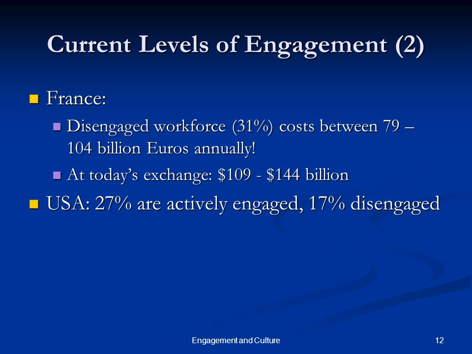 12Engagement and Culture Current Levels of Engagement (2) France: France: Disengaged workforce (31%) costs between 79 – 104 billion Euros annually! Di