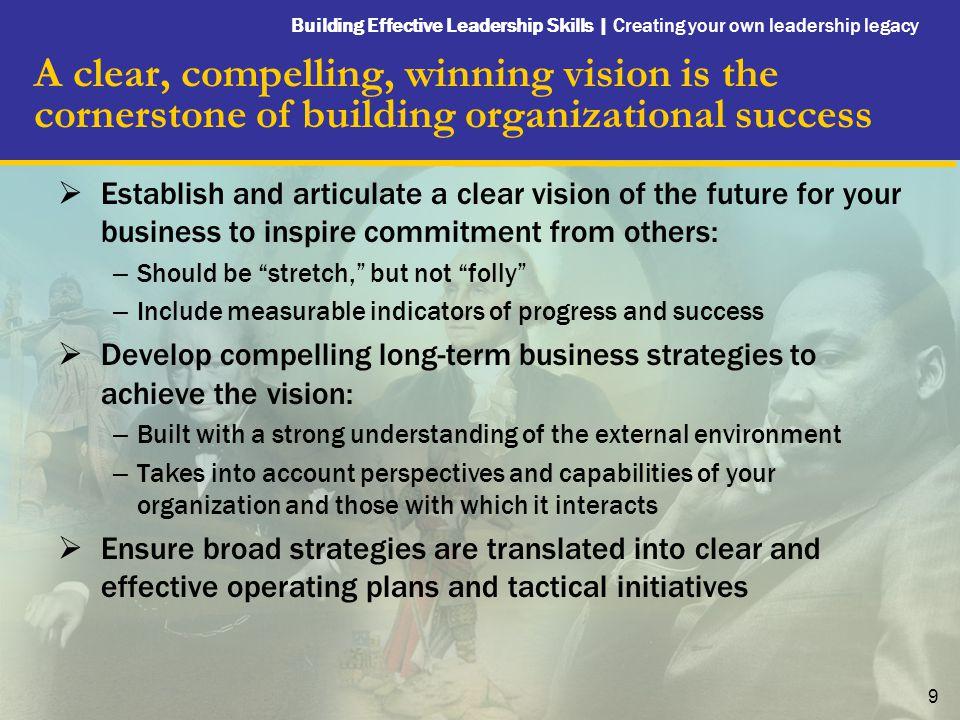 Building Effective Leadership Skills   Creating your own leadership legacy 10 Create a High Performance Culture Leadership Profile: Herbert D.
