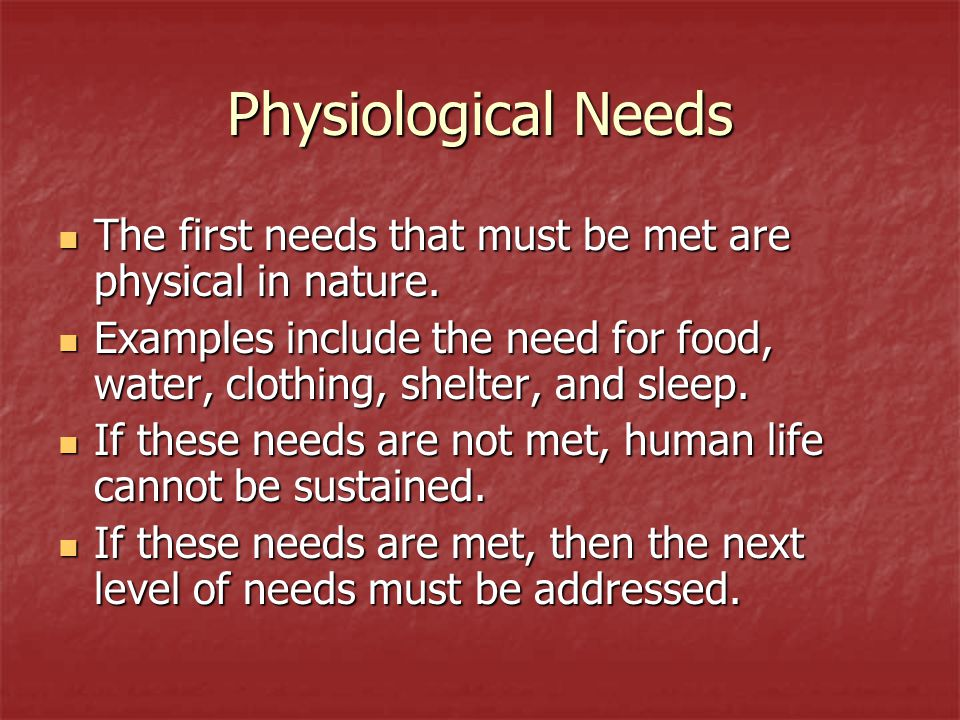 Safety Once physical needs are met, a person must meet their need to feel safe.