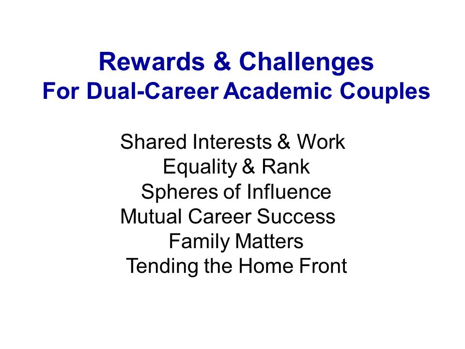 Rewards & Challenges For Dual-Career Academic Couples Shared Interests & Work Equality & Rank Spheres of Influence Mutual Career Success Family Matters Tending the Home Front
