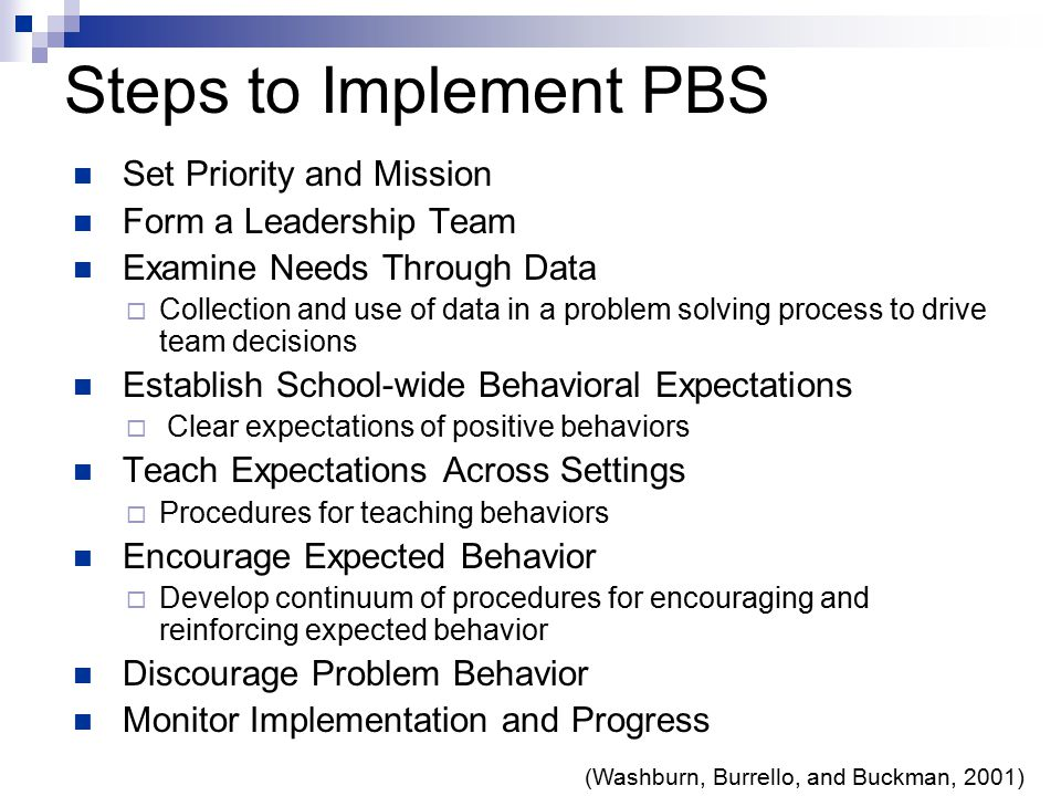 (Washburn, Burrello, and Buckman, 2001) Steps to Implement PBS Set Priority and Mission Form a Leadership Team Examine Needs Through Data  Collection and use of data in a problem solving process to drive team decisions Establish School-wide Behavioral Expectations  Clear expectations of positive behaviors Teach Expectations Across Settings  Procedures for teaching behaviors Encourage Expected Behavior  Develop continuum of procedures for encouraging and reinforcing expected behavior Discourage Problem Behavior Monitor Implementation and Progress