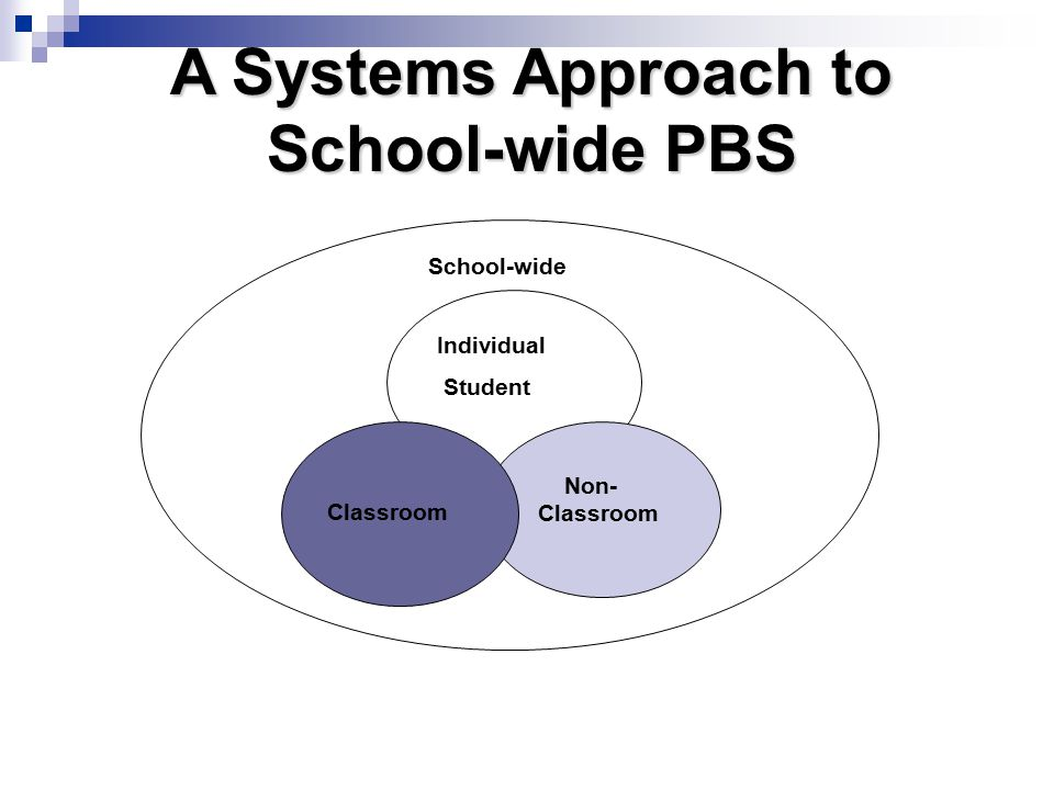 School-wide Individual Student Classroom Non- Classroom A Systems Approach to School-wide PBS