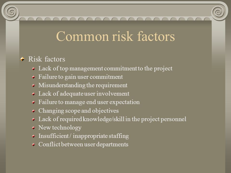 Common risk factors Risk factors Lack of top management commitment to the project Failure to gain user commitment Misunderstanding the requirement Lack of adequate user involvement Failure to manage end user expectation Changing scope and objectives Lack of required knowledge/skill in the project personnel New technology Insufficient / inappropriate staffing Conflict between user departments
