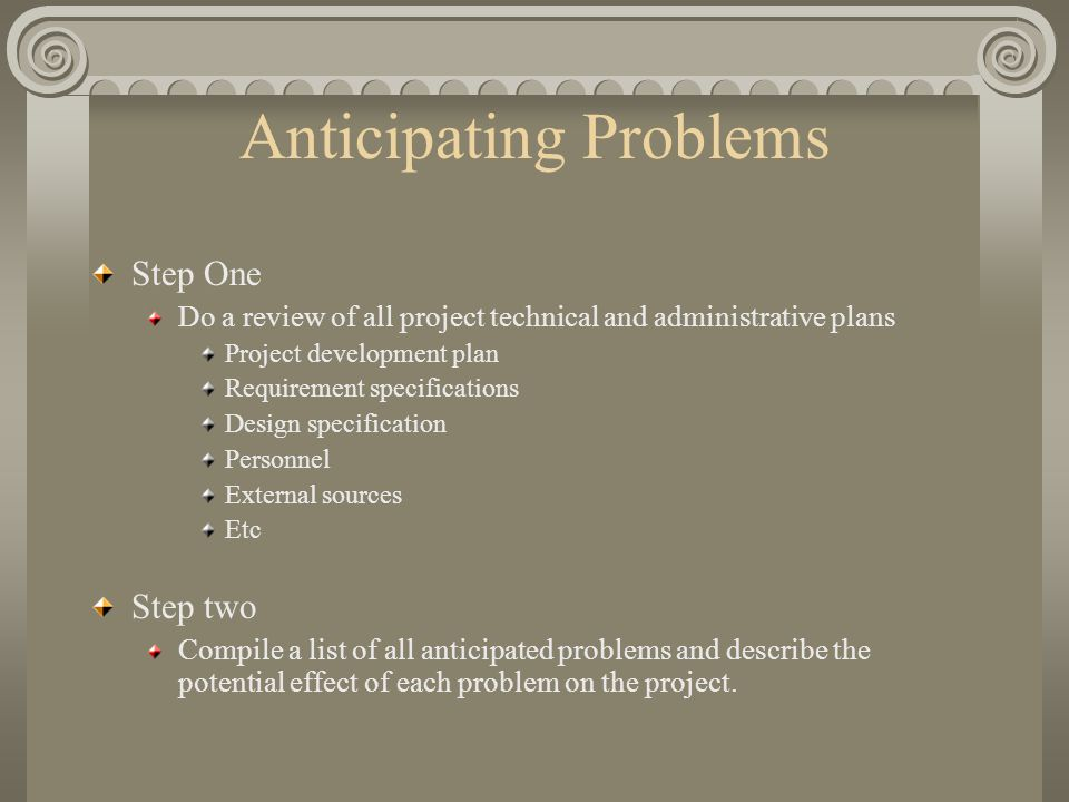 Anticipating Problems Step One Do a review of all project technical and administrative plans Project development plan Requirement specifications Design specification Personnel External sources Etc Step two Compile a list of all anticipated problems and describe the potential effect of each problem on the project.
