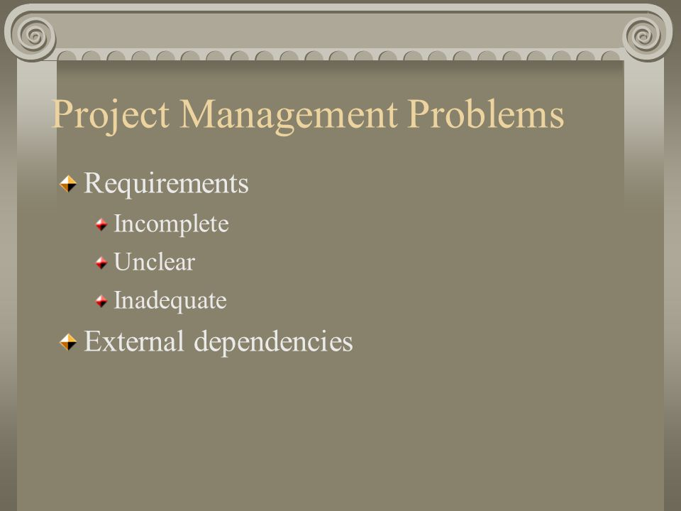 Project Management Problems Requirements Incomplete Unclear Inadequate External dependencies