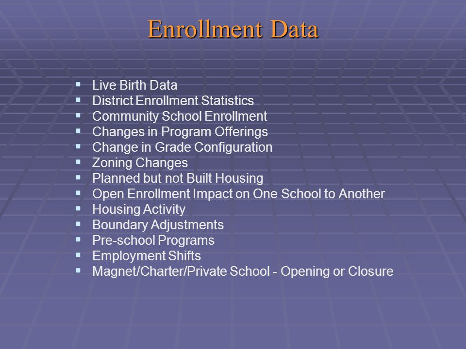 Enrollment Data   Live Birth Data   District Enrollment Statistics   Community School Enrollment   Changes in Program Offerings   Change in Grade Configuration   Zoning Changes   Planned but not Built Housing   Open Enrollment Impact on One School to Another   Housing Activity   Boundary Adjustments   Pre-school Programs   Employment Shifts   Magnet/Charter/Private School - Opening or Closure