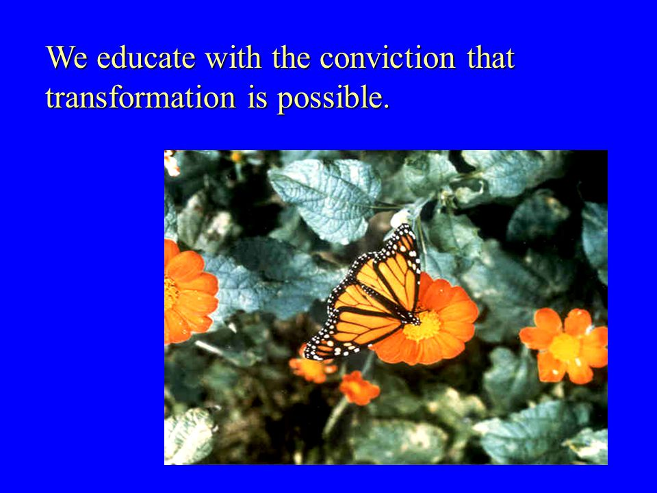 We educate with the conviction that transformation is possible.