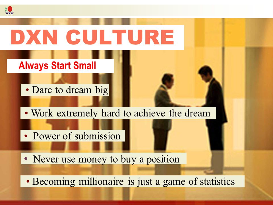 DXN CULTURE DXN CULTURE DXN is the Goldmine 1) Company Stability 2) Product Superiority 3) Generous Marketing Plan 4) Global Network Ganoderma is the gold DXN is the goldmine The 4 pillars of DXN