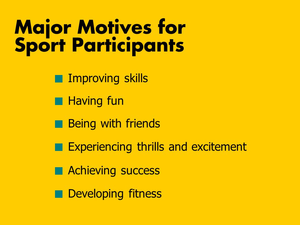 Major Motives for Sport Participants Improving skills Having fun Being with friends Experiencing thrills and excitement Achieving success Developing f