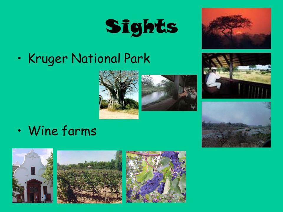 Sights Kruger National Park Wine farms
