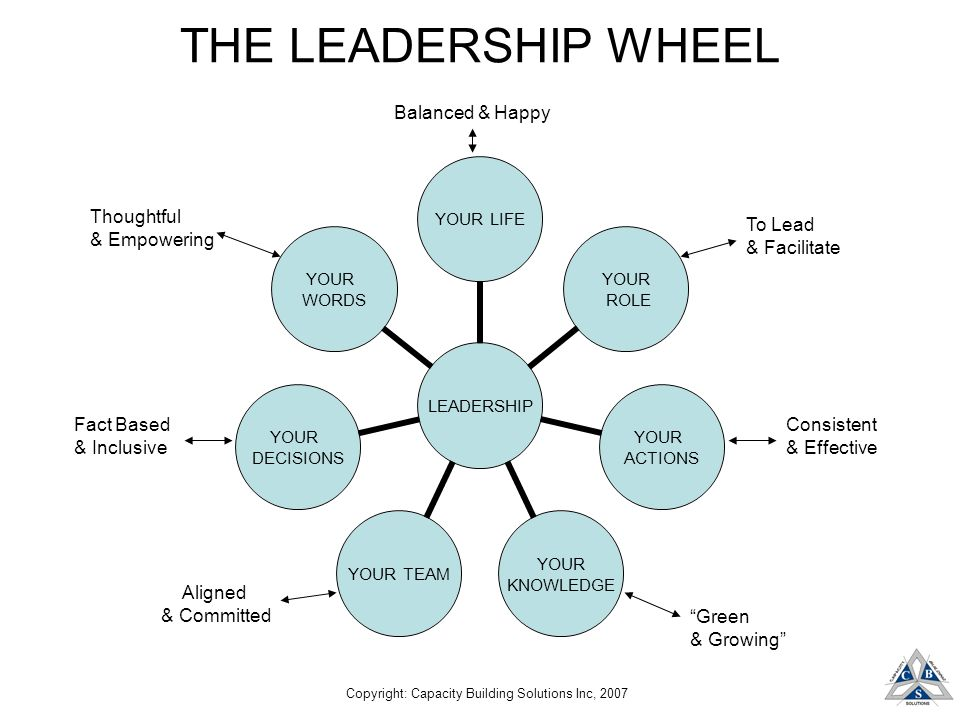 Copyright: Capacity Building Solutions Inc, 2007 THE LEADERSHIP WHEEL LEADERSHIP YOUR LIFE YOUR ROLE YOUR ACTIONS YOUR KNOWLEDGE YOUR TEAM YOUR DECISIONS YOUR WORDS Balanced & Happy To Lead & Facilitate Consistent & Effective Green & Growing Thoughtful & Empowering Fact Based & Inclusive Aligned & Committed