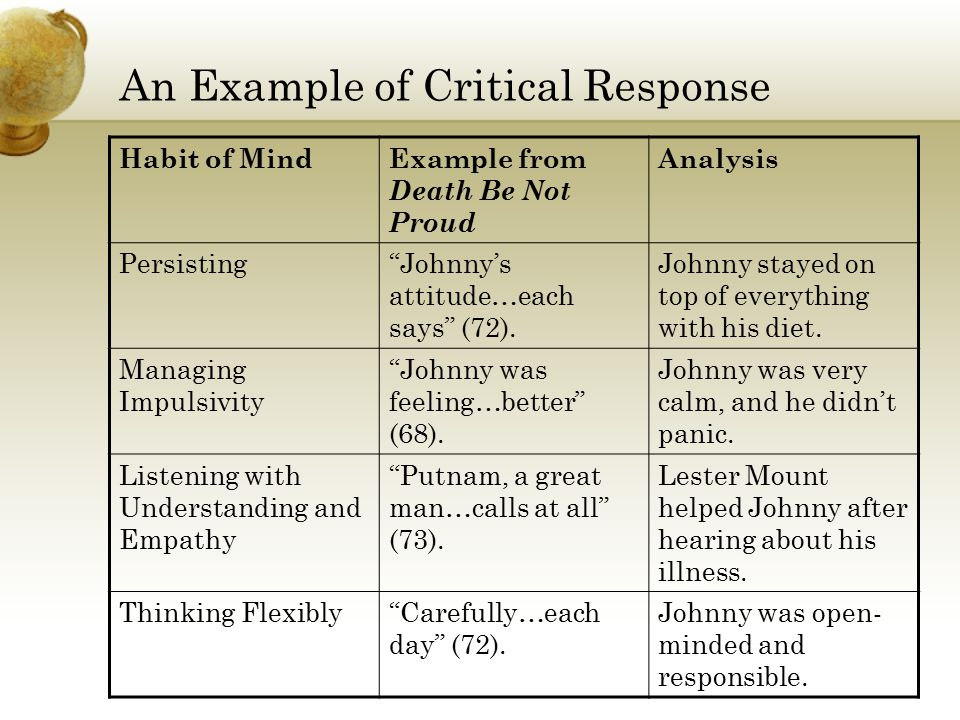 """An Example of Critical Response Habit of MindExample from Death Be Not Proud Analysis Persisting""""Johnny's attitude…each says"""" (72). Johnny stayed on t"""