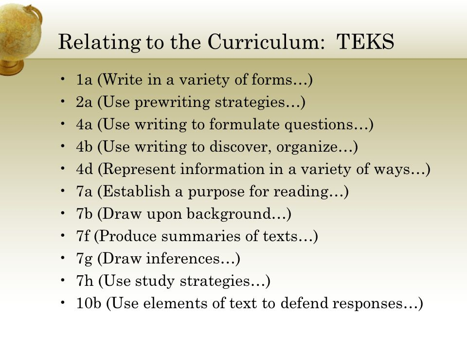 Relating to the Curriculum: TEKS 1a (Write in a variety of forms…) 2a (Use prewriting strategies…) 4a (Use writing to formulate questions…) 4b (Use writing to discover, organize…) 4d (Represent information in a variety of ways…) 7a (Establish a purpose for reading…) 7b (Draw upon background…) 7f (Produce summaries of texts…) 7g (Draw inferences…) 7h (Use study strategies…) 10b (Use elements of text to defend responses…)
