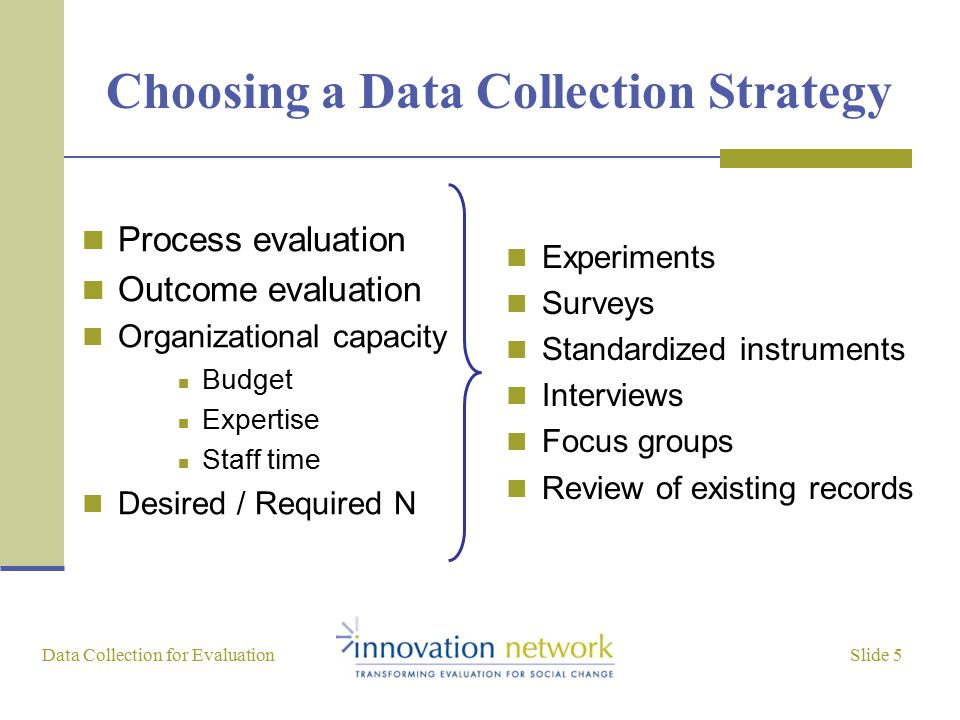 Slide 5 Data Collection for Evaluation Choosing a Data Collection Strategy Process evaluation Outcome evaluation Organizational capacity Budget Expertise Staff time Desired / Required N Experiments Surveys Standardized instruments Interviews Focus groups Review of existing records
