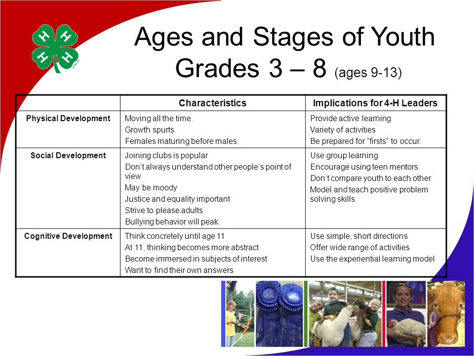 Ages and Stages of Youth Grades 3 – 8 (ages 9-13) CharacteristicsImplications for 4-H Leaders Physical DevelopmentMoving all the time.
