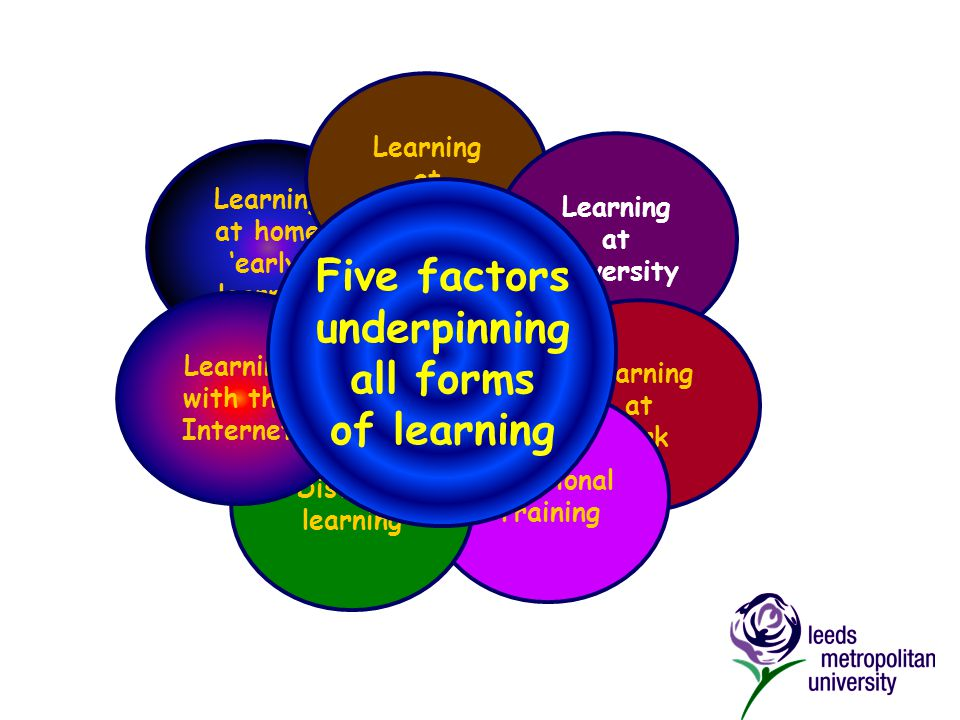Learning at home 'early' learning Learning at school Learning at university Learning at work Vocational Training Distance learning Learning with the Internet Learning to be old Five factors underpinning all forms of learning