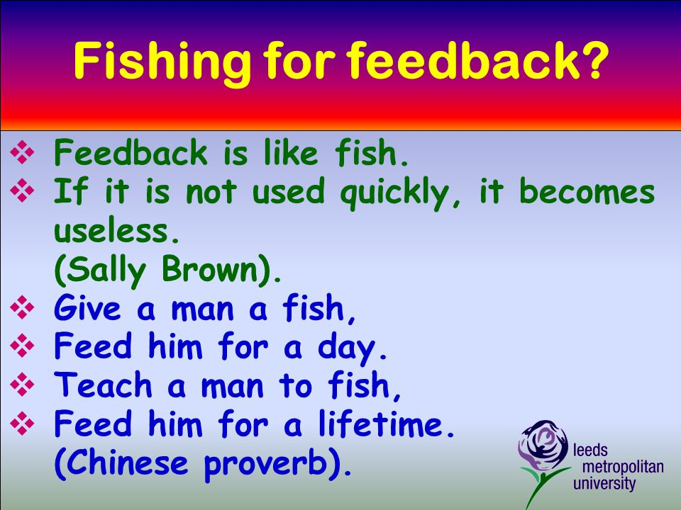 Fishing for feedback.  Feedback is like fish.  If it is not used quickly, it becomes useless.