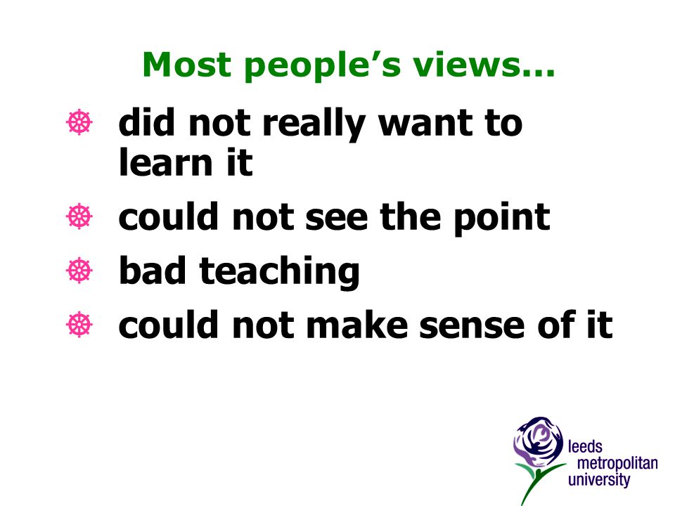 Most people's views...