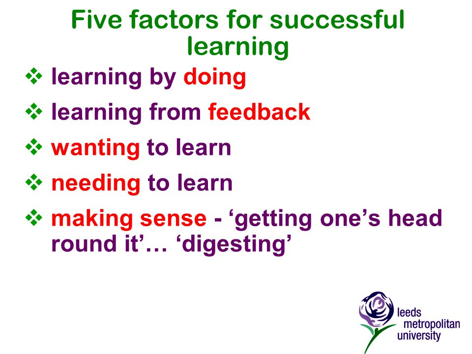 Five factors for successful learning  learning by doing  learning from feedback  wanting to learn  needing to learn  making sense - 'getting one's head round it'… 'digesting'