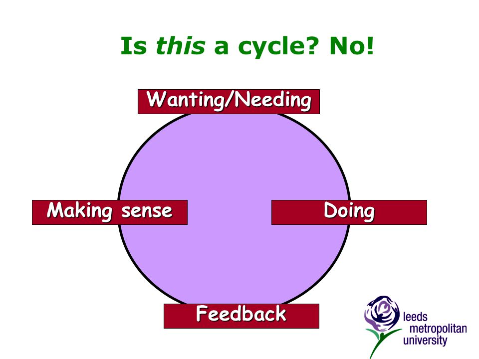 Is this a cycle No! Wanting/Needing Doing Feedback Making sense