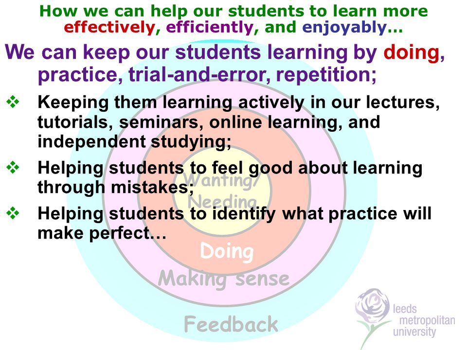 How we can help our students to learn more effectively, efficiently, and enjoyably… Wanting/ Needing Doing Feedback Making sense We can keep our students learning by doing, practice, trial-and-error, repetition;  Keeping them learning actively in our lectures, tutorials, seminars, online learning, and independent studying;  Helping students to feel good about learning through mistakes;  Helping students to identify what practice will make perfect…