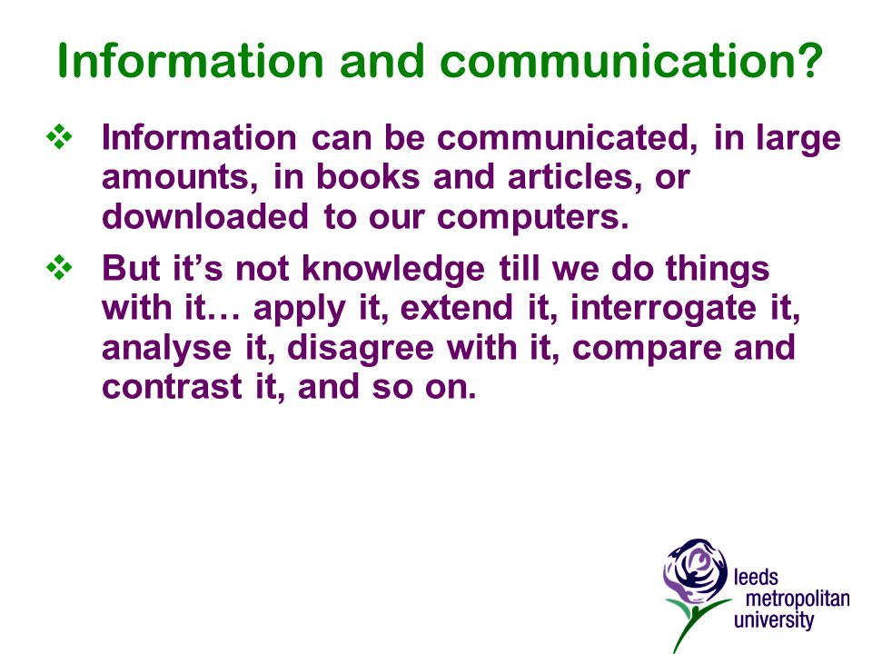 Information and communication.