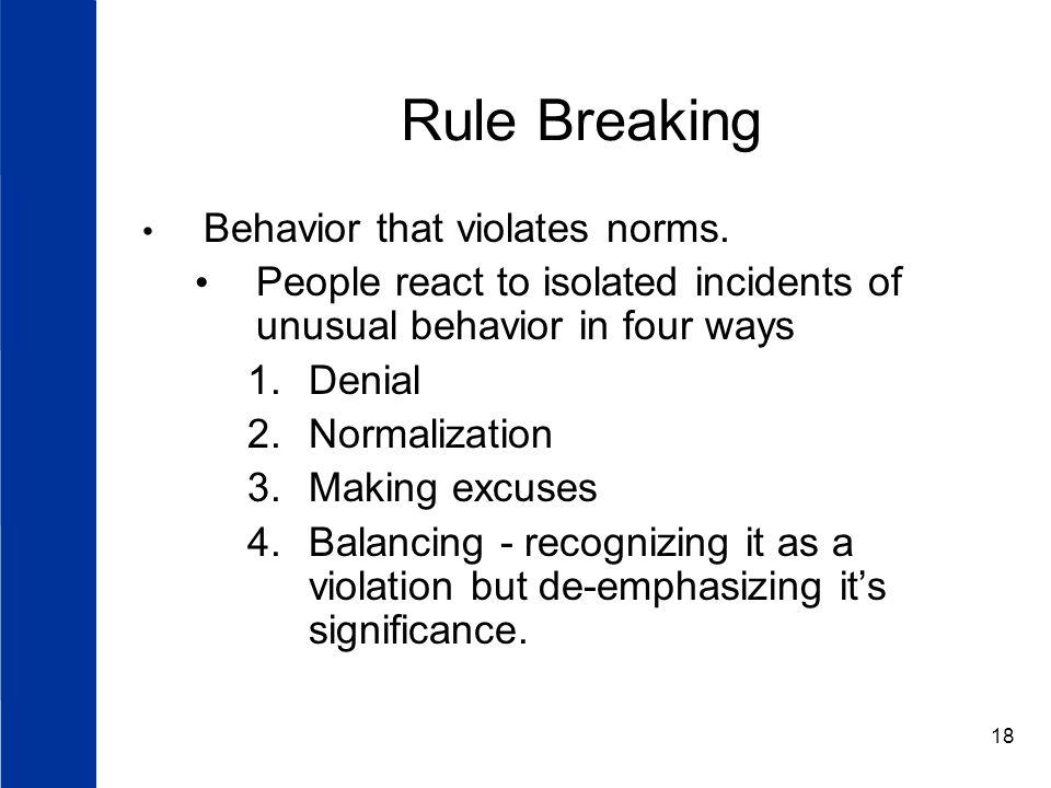 18 Rule Breaking Behavior that violates norms.