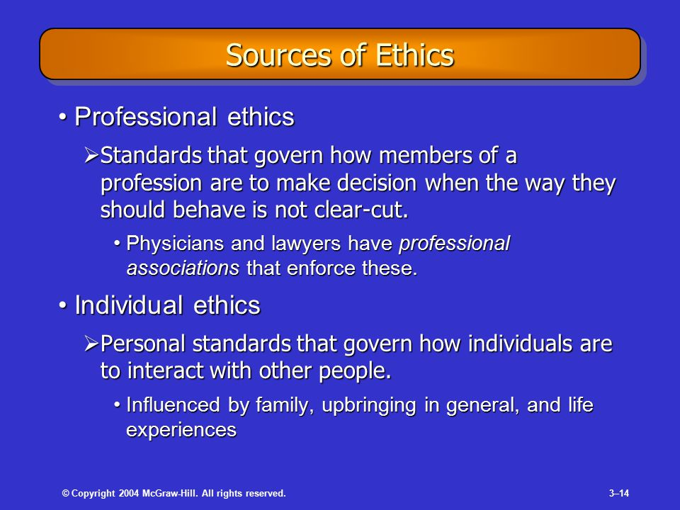 © Copyright 2004 McGraw-Hill. All rights reserved.3–14 Sources of Ethics Professional ethicsProfessional ethics  Standards that govern how members of