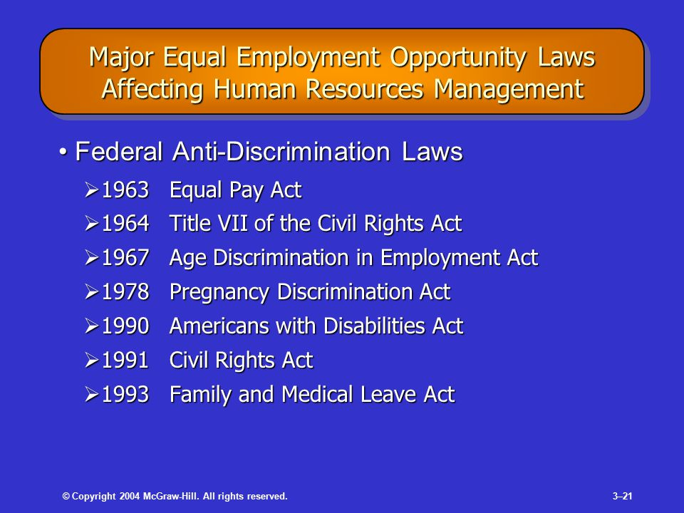 © Copyright 2004 McGraw-Hill. All rights reserved.3–21 Major Equal Employment Opportunity Laws Affecting Human Resources Management Federal Anti-Discr