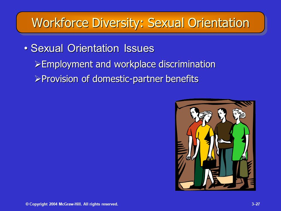© Copyright 2004 McGraw-Hill. All rights reserved.3–27 Workforce Diversity: Sexual Orientation Sexual Orientation IssuesSexual Orientation Issues  Em