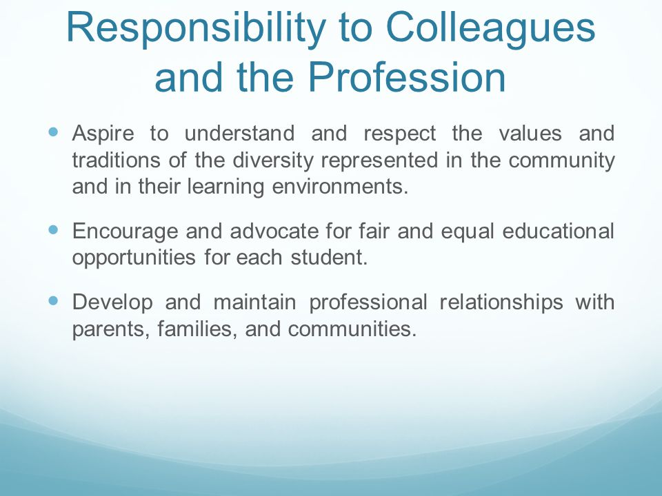 Responsibility to Colleagues and the Profession Aspire to understand and respect the values and traditions of the diversity represented in the community and in their learning environments.