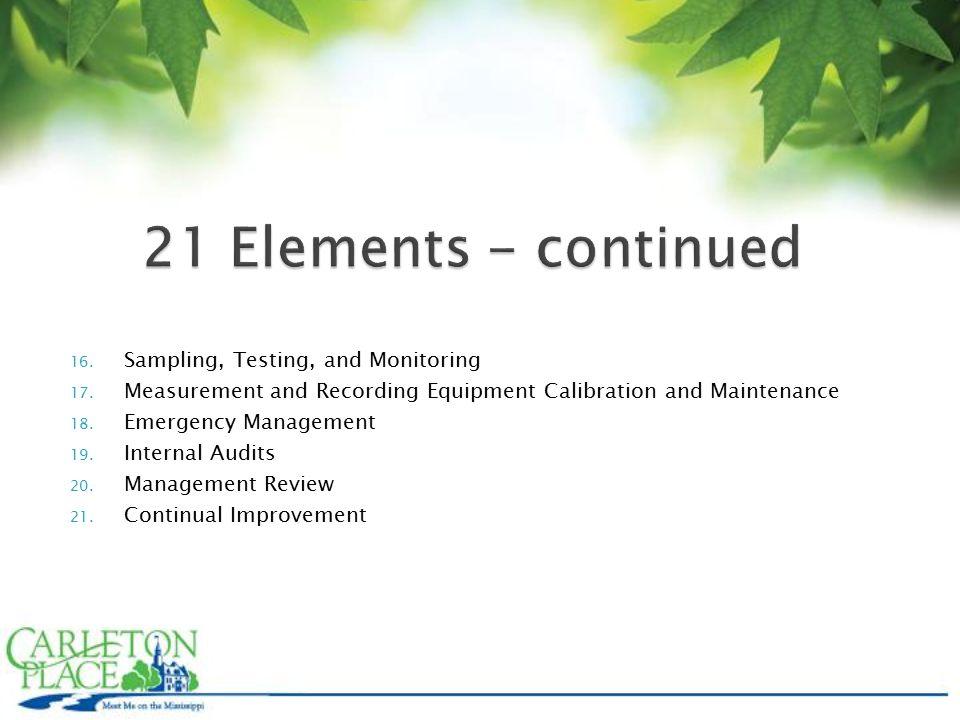 16. Sampling, Testing, and Monitoring 17.
