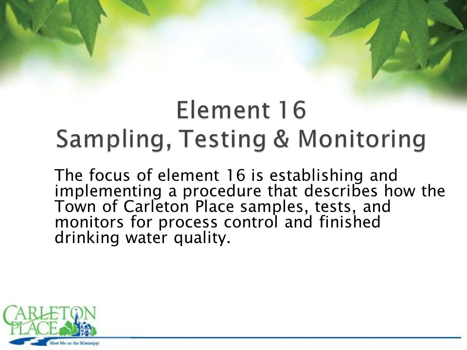 The focus of element 16 is establishing and implementing a procedure that describes how the Town of Carleton Place samples, tests, and monitors for process control and finished drinking water quality.