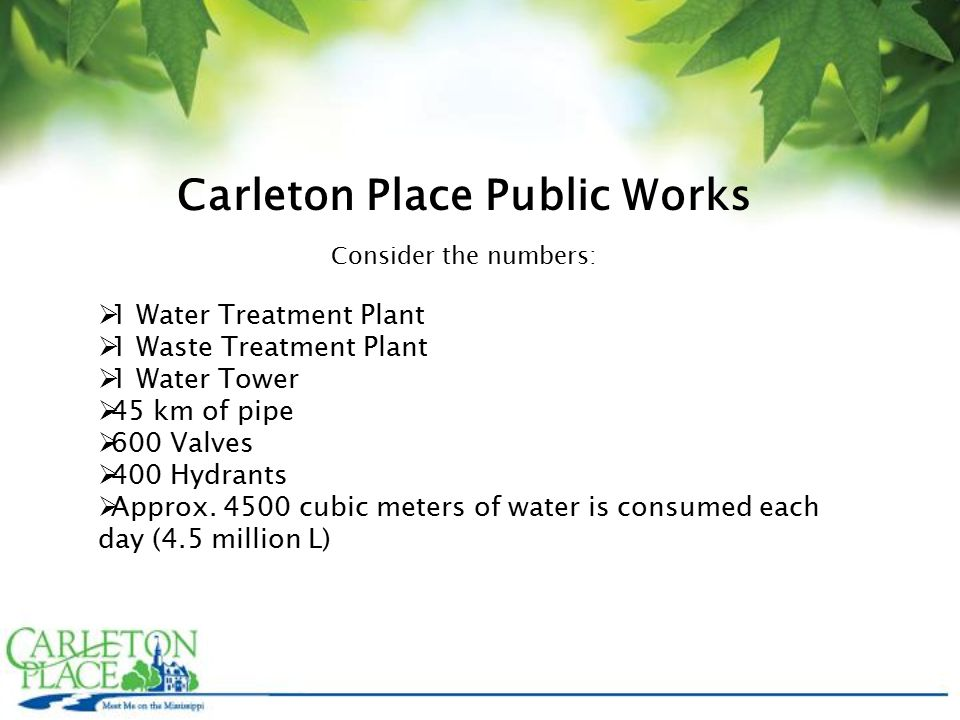Carleton Place Public Works Consider the numbers:  1 Water Treatment Plant  1 Waste Treatment Plant  1 Water Tower  45 km of pipe  600 Valves  400 Hydrants  Approx.
