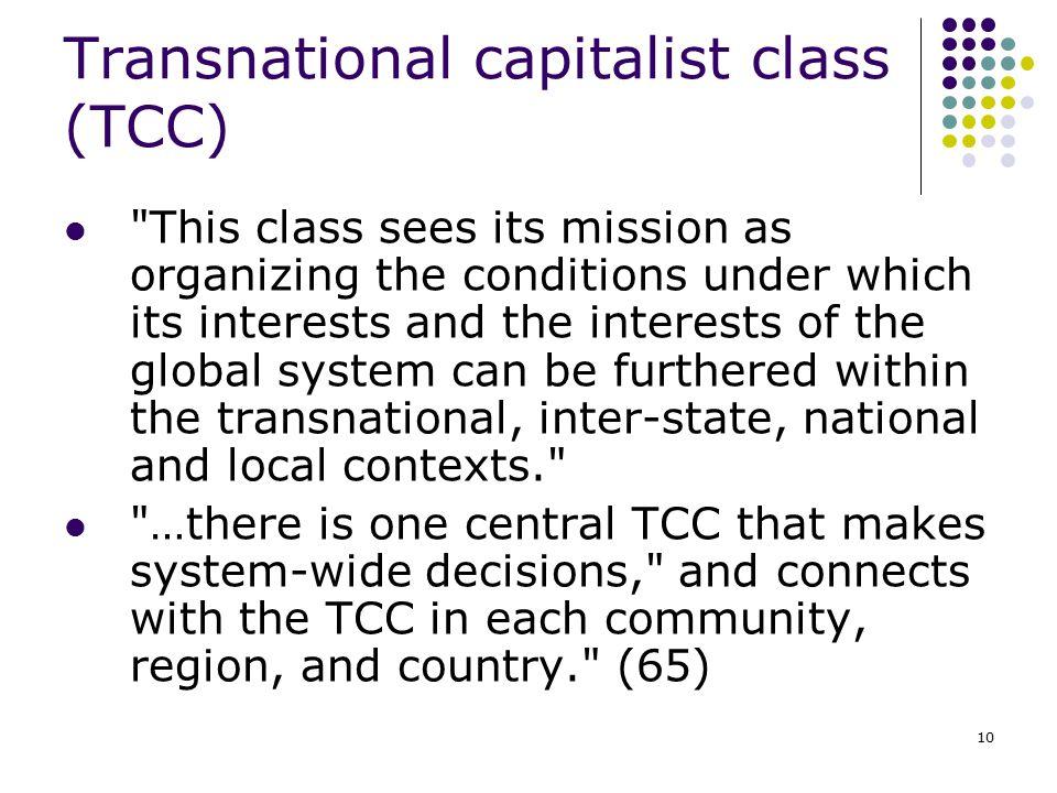 10 Transnational capitalist class (TCC)