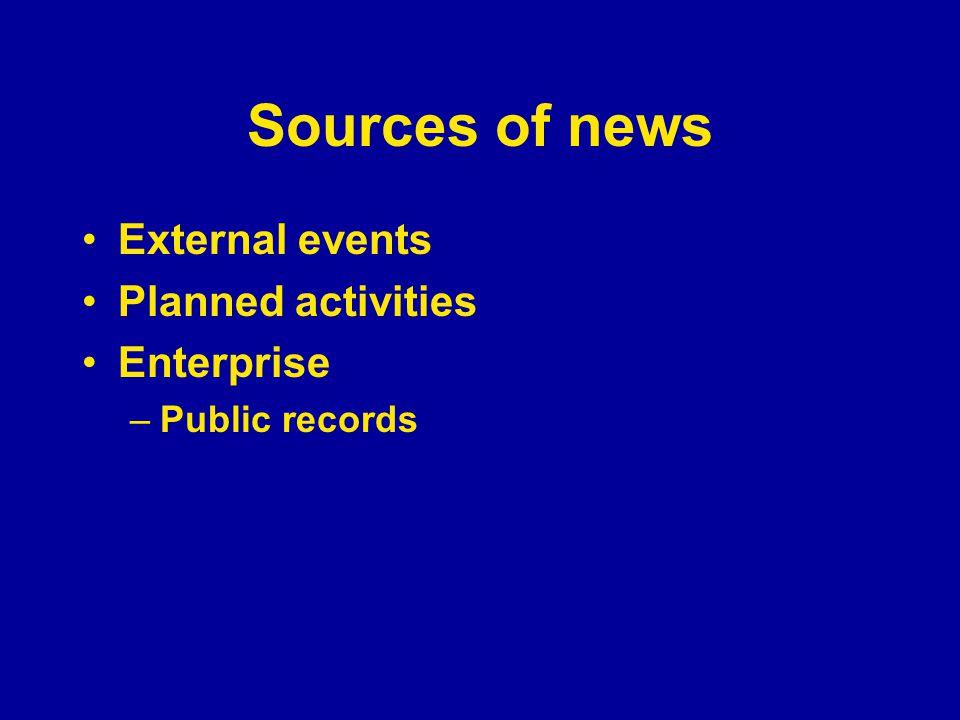 Sources of news External events Planned activities Enterprise –Public records
