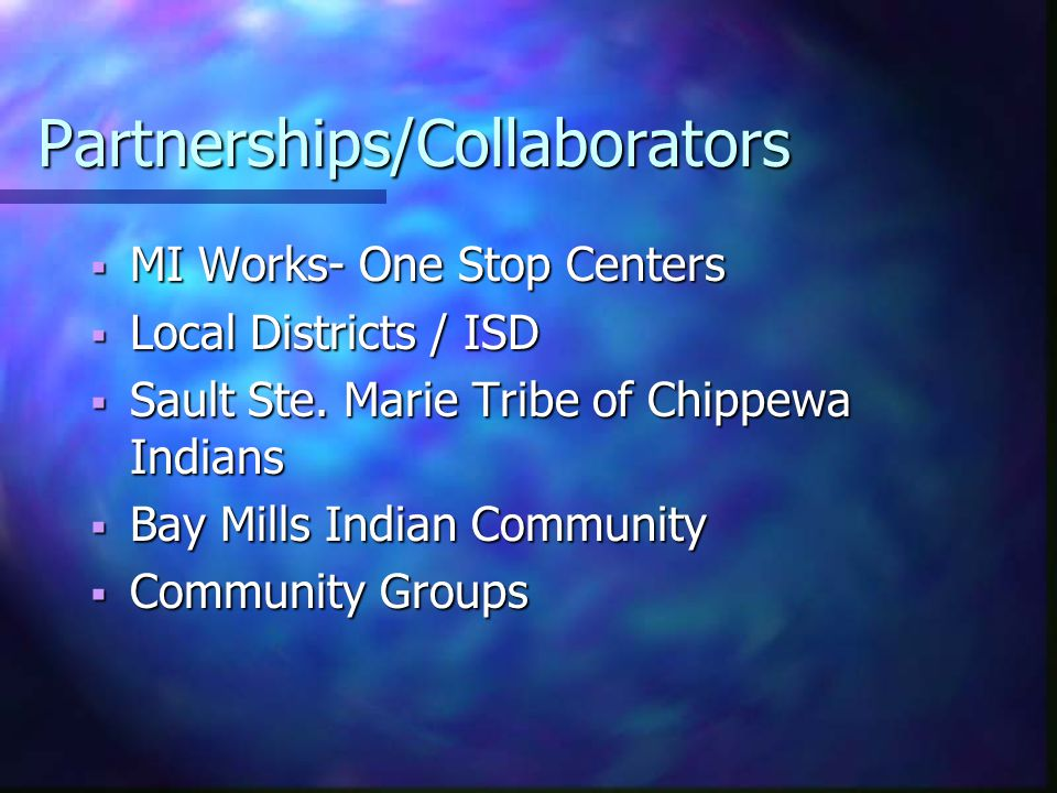 Partnerships/Collaborators  MI Works- One Stop Centers  Local Districts / ISD  Sault Ste. Marie Tribe of Chippewa Indians  Bay Mills Indian Commun