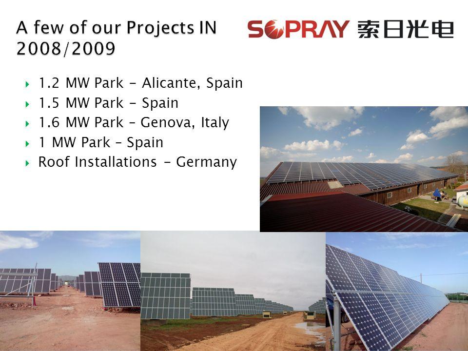  1.2 MW Park - Alicante, Spain  1.5 MW Park - Spain  1.6 MW Park – Genova, Italy  1 MW Park – Spain  Roof Installations - Germany