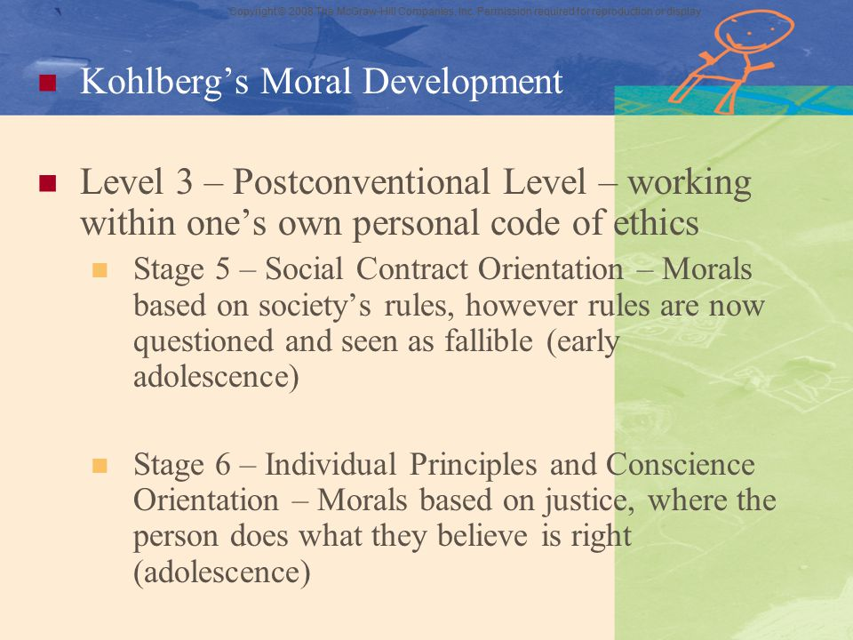 Copyright © 2008 The McGraw-Hill Companies, Inc. Permission required for reproduction or display ` Kohlberg's Moral Development Level 3 – Postconventi
