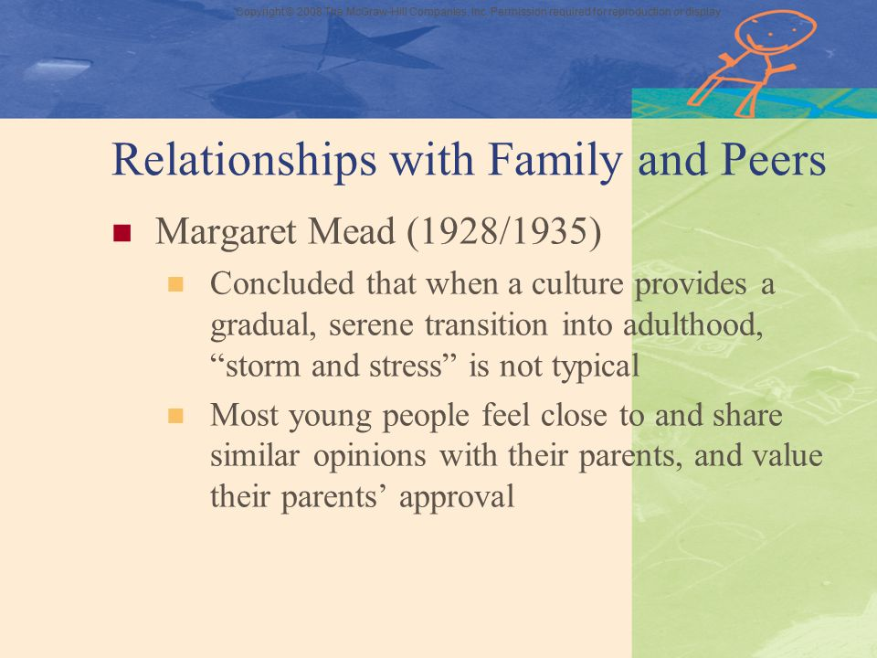 Copyright © 2008 The McGraw-Hill Companies, Inc. Permission required for reproduction or display Relationships with Family and Peers Margaret Mead (19