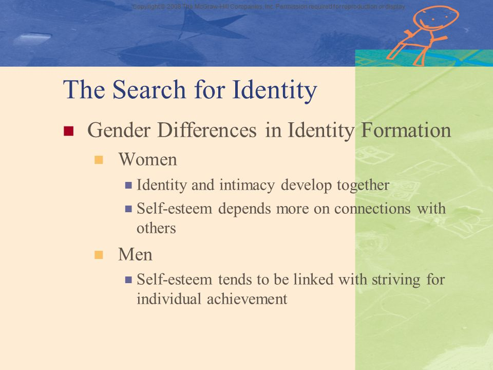 Copyright © 2008 The McGraw-Hill Companies, Inc. Permission required for reproduction or display The Search for Identity Gender Differences in Identit