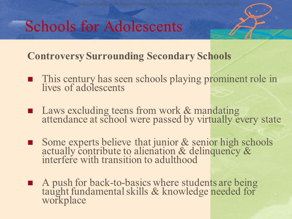 Copyright © 2008 The McGraw-Hill Companies, Inc. Permission required for reproduction or display Schools for Adolescents Controversy Surrounding Secon