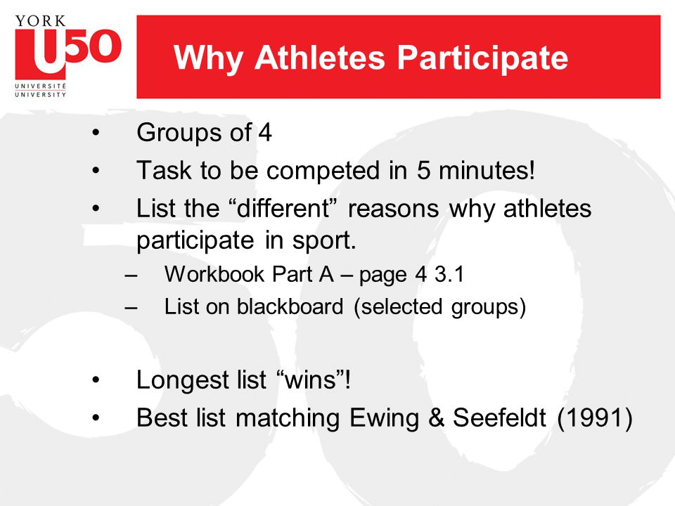 Why Athletes Participate Groups of 4 Task to be competed in 5 minutes.