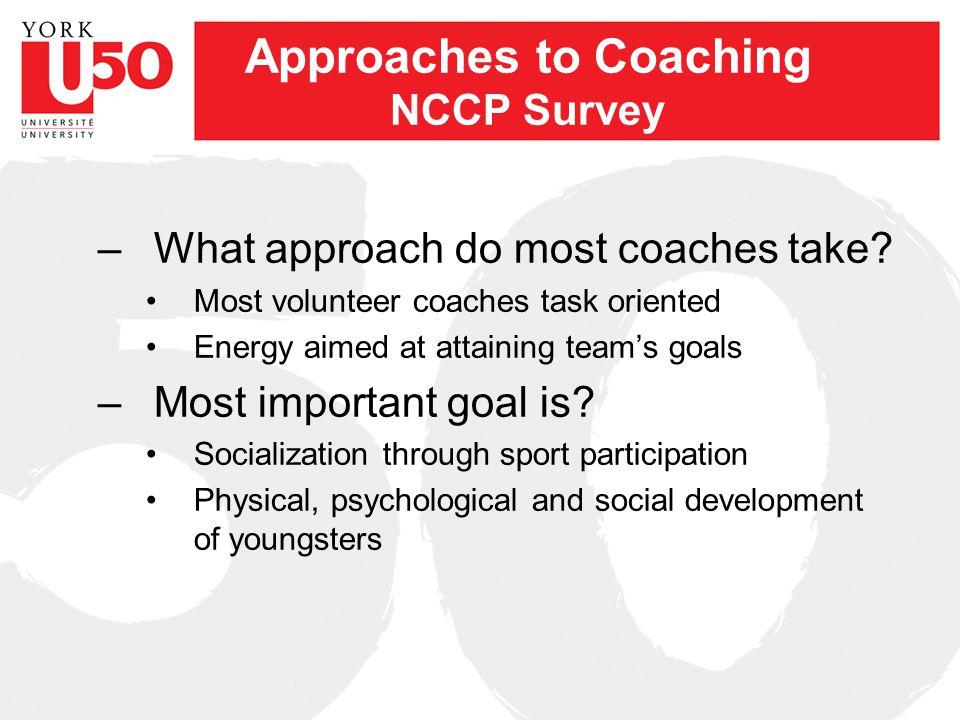 Approaches to Coaching Outcomes Socialization FunWinning 1. a b c 2. b c a 3. a b c