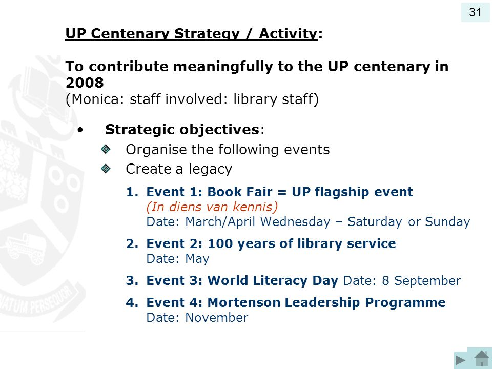 UP Centenary Strategy / Activity: To contribute meaningfully to the UP centenary in 2008 (Monica: staff involved: library staff) Strategic objectives: Organise the following events Create a legacy 1.Event 1: Book Fair = UP flagship event (In diens van kennis) Date: March/April Wednesday – Saturday or Sunday 2.Event 2: 100 years of library service Date: May 3.Event 3: World Literacy Day Date: 8 September 4.Event 4: Mortenson Leadership Programme Date: November 31