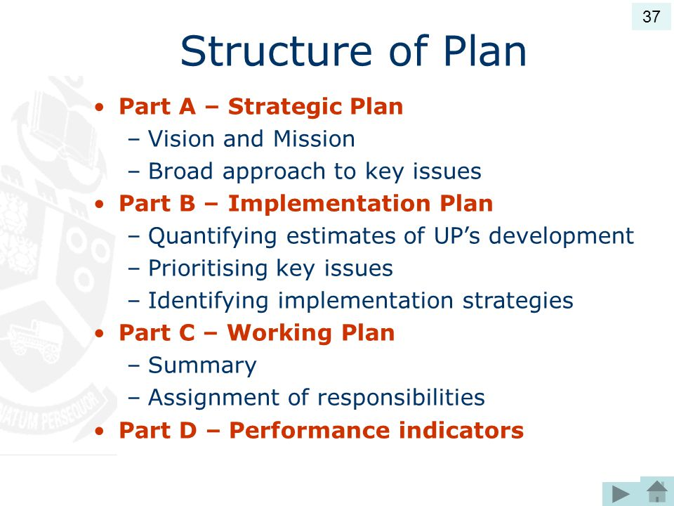 Structure of Plan Part A – Strategic Plan –Vision and Mission –Broad approach to key issues Part B – Implementation Plan –Quantifying estimates of UP's development –Prioritising key issues –Identifying implementation strategies Part C – Working Plan –Summary –Assignment of responsibilities Part D – Performance indicators 37