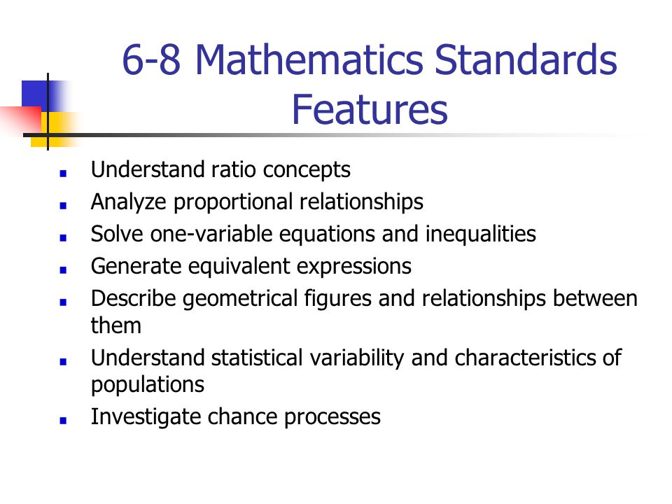6-8 Mathematics Standards Features Understand ratio concepts Analyze proportional relationships Solve one-variable equations and inequalities Generate
