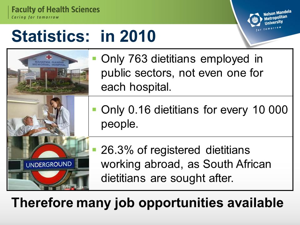 Statistics: in 2010  Only 763 dietitians employed in public sectors, not even one for each hospital.